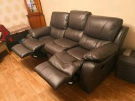 Three seater recliner sofa and chair, two month old