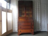 TALL VINTAGE OAK TWO PIECE BUREAU AND DOUBLE DOOR GLAZED BOOKCASE DISPLAY CABINET FREE DELIVERY