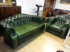3pieces quality leather Chesterfield 3+1+1setter, Excellent condition
