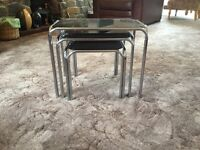 Black and chrome nest of three tables