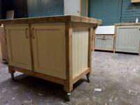 Freestanding solid wood kitchen island breakfast bar reclaimed timber top
