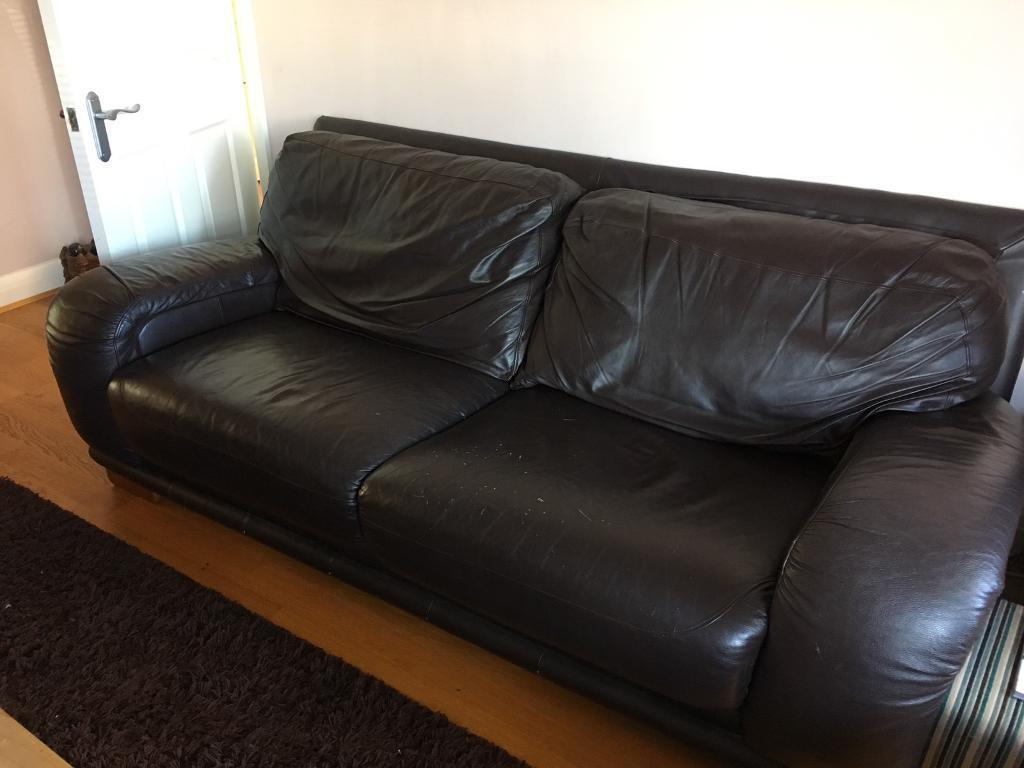 3 piece suite - dark brown leather