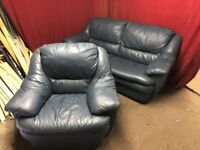 BLUE LEATHER 3 SEATER SOFA WITH ARM CHAIR,CAN DELIVER