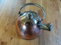 Vintage Kettle for gas stove - Stainless steel and brass