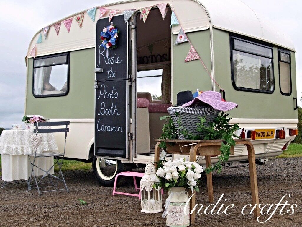 Rosie the caravan photobooth for weddings or christenings quirky retro