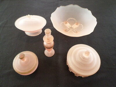 9 Vintage Rare Art Deco Frosted Pink Glass Some Small Damage