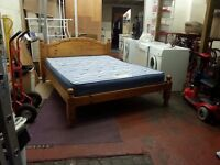 solid pine king size bed frame with 8 inch thick mattress