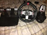 Logitech G27 steering wheel, pedals and shifter