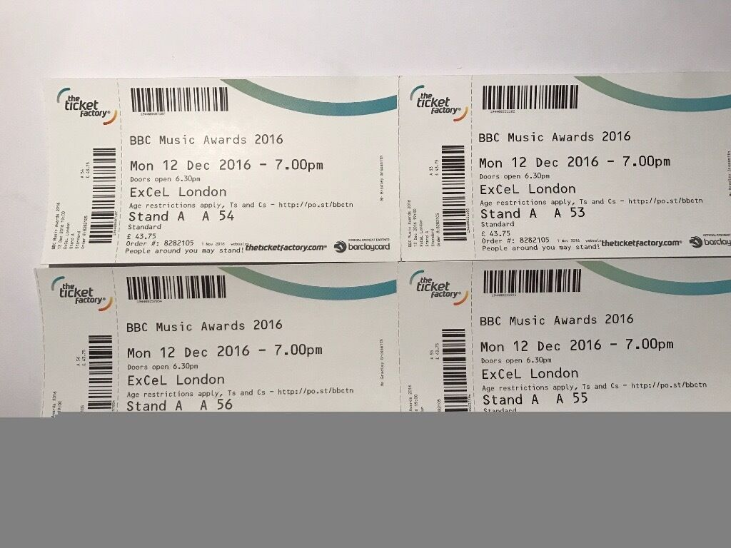 four tickets for bbc music awards excel london 12th dec 2016 in