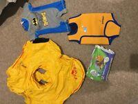 Baby swim ring, baby warm wrap, baby swimsuit, swim nappies