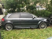 AUDI S3 8P 2007 DAMAGED SHELL NOT RECORDED WITH V5 LOG BOOK, KEY, ENGINE AND HALDEX SYSTEM