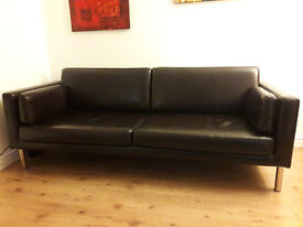 Two-Tree seats Ikea leather sofa