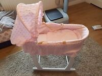 Girls moses baskets and stand