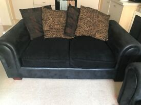 4 seater and 3 seater sofa set (Black printed Fabric and Suede)