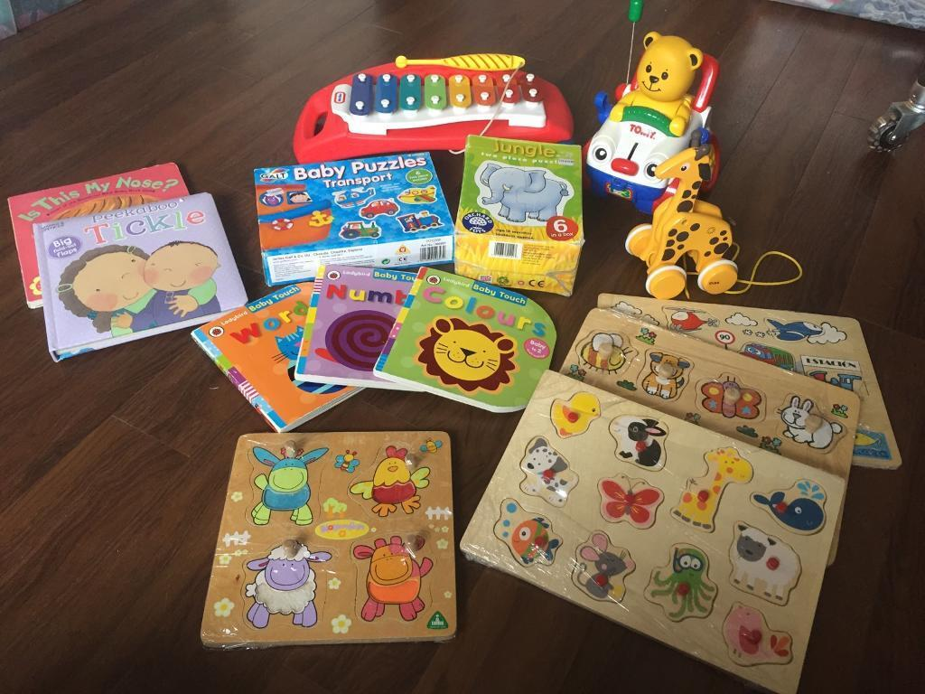 Baby toys bundle xylophone puzzles books pull along car