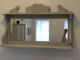 Shabby chic grey wooden carved mirror with shelf