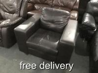 Brown leather armchair as new