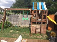 Wooden climbing frame with swings and wavy slide - £100 **Collection from Romford, RM1**