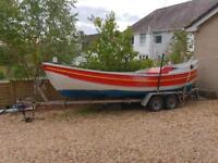 Clinker North Sea restored fishing boat with Diesel engine