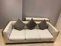 Modern Solid Luxury Gold Grey 3 + 2 Sofa Set in Good condition, selling it cheap, moving home
