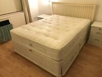 Queen size bed and base with storage