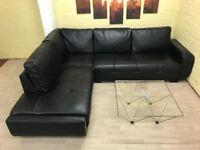 Contemporary Black Leather Corner Sofa