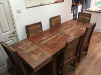 Solid wooden extendable dining table and 6 chairs