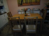 Ikea Bjursta extending table & 6 Borje chairs