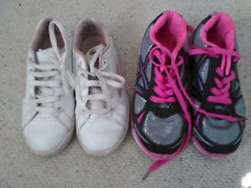 Girl's size 1 trainers x 2. Can buy 1 or both.