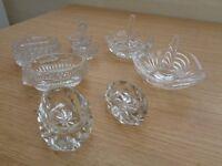 Cut glass ringholders/pots/ x6