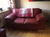 2 x 2 Seater sofas Red leather and one red leather stool