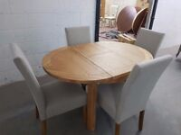 Mark Webster Designs Dublin Round Extending Dining Table + 4 Chairs