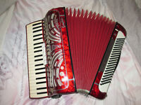 GAUDINI MUSETTE PIANO ACCORDION - RED PEARL IN IMMACULATE CONDITION