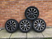 "alloy wheels and tyres for toyota aygo (new shape) 15"" Toyota Sport Diamond Cut Mint and Unmarked"