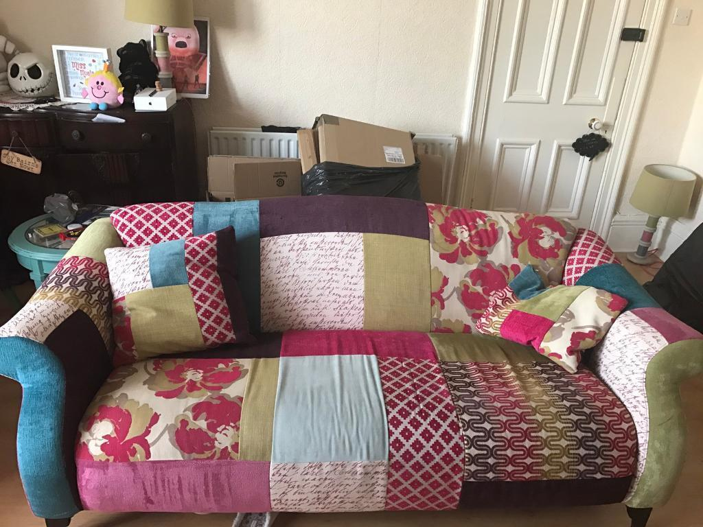Dfs Shout Patchwork Maxi Sofa And Wingback Chair In Whitley Bay