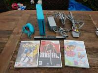 Blue Nintendo wii console leads and games 1 controller working order