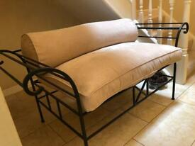 Wrought Iron Seat with Caramel Upholstery Seat & Bolster