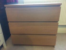 Ikea drawer set - oak veneer from the malm range
