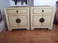 2 X Oriental style bedside tables