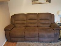 brown brushed leather 3 seater and 2 seater recliner
