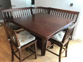 Corner Dining table,two benches and chairs