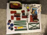 Meccano steam engine and metal Meccano pieces