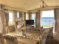 Brand New BEACHFRONT lodge full sea view*••••3 bedroom platinum caravan for hire at craig tara