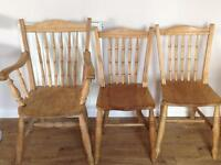 Old style dining chairs x 2, & 1 carver chair.