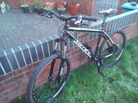 """Carrera Vulcan mountain bike 20"""" frame. Disc brakes. Fork lockout. Excellent condition."""