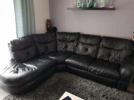 Black, leather, corner sofa