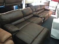 Ex Display LazyBoy Large Recliner Corner Sofa + Recliner Chaise + Media Tray Docking+ Cup Holders