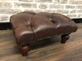 Brown Chesterfield Style Leather Footstool
