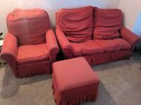 Free! Red/Rust 2 seater sofa + 2 chairs + Footstool