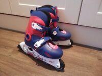 Decathlon inline childrens skates & bag (UK size 1.5-3 / EU 34-36)